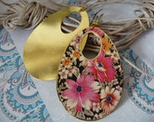 Teardrop earrings, floral, brass plated, dangle, floral, statement, cold enameled,