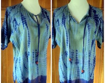 Vintage 70s Tie Dye Blouse Hippie Top Drawstring Tie Ethnic Shirt Boho Gauze Tye Dye M 40 B
