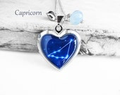 "Get 15% OFF - Double Sided - Handmade Resin ""Capricorn"" Constellation Sign Silver Heart-shape Locket Necklace - Mother's Day SALE 2017"