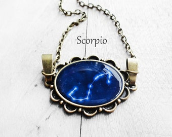"Get 15% OFF - Handmade Resin ""Scorpio"" Constellation Sign Antique Bronze Oval Pendant Necklace - Mother's Day SALE 2017"