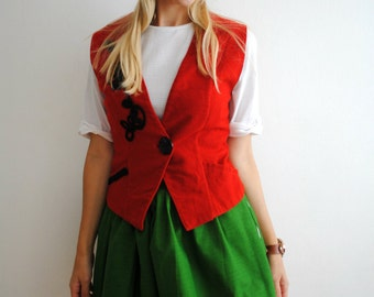 Vintage Vest 70s Woolen Red Wool Tailored Country Gypsy Style