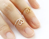 Wire Heart Knuckle Ring / choose your color, gold and silver