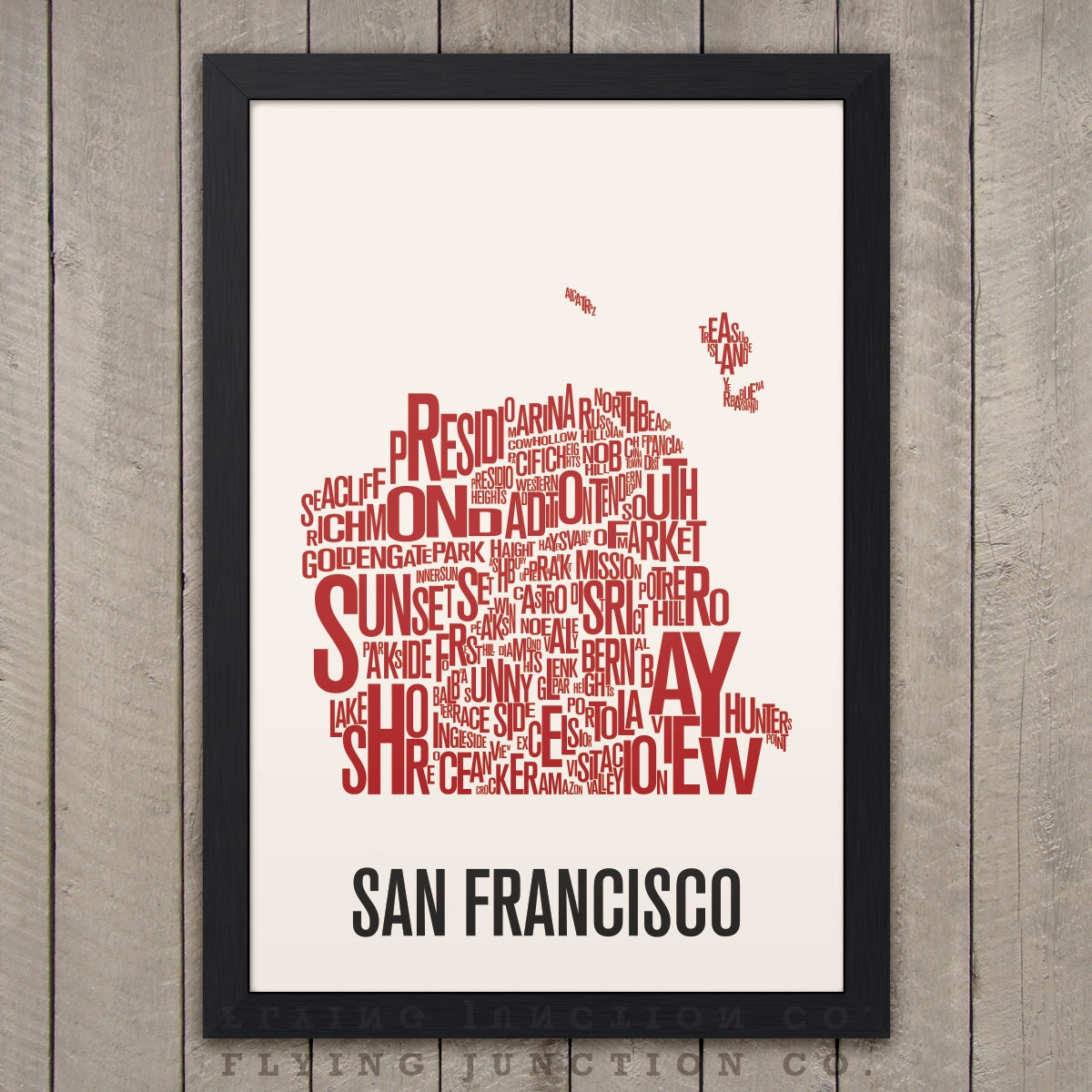 SAN FRANCISCO Neighborhood Typography City Map by