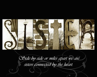 Alphabet Photography - SISTER with quote (various sizes)