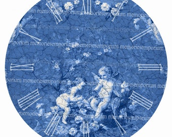 Antique Clock Face Blue and White Shabby Chic Cherub 7 inch Diameter Round for DIY Make Your Own Clock Digital Collage Sheet Download 193