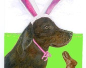 Easter Card, Chocolate Labrador ,Chocolate Easter Bunny Fine Art Card, Handmade Card, Dog Illustration, Pet Portrait,  Pink