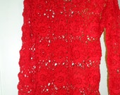 Crochet lace red flower long sleeves sweater blouse