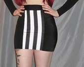 Black spandex skirt with stripe center panel