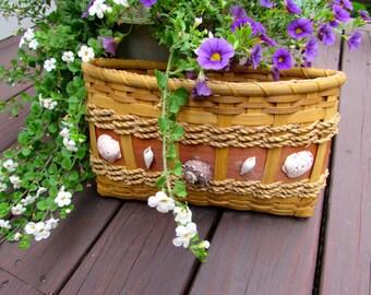 Handmade Wicker and Wood Basket with Seashells
