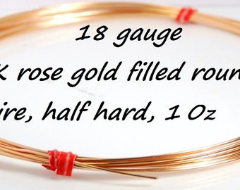 Made in USA 18 gauge 14K rose gold filled round wire, halfhard, one ounce, wholesale