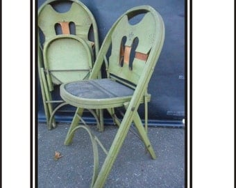 """Pair Of Green 1920's  """"Solid Komfort"""" Folding Chairs"""