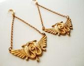 Egyptian Brass Earrings - Chandelier -Swag Chain Earrings