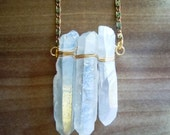 Raw Crystal Necklace - Winter White Crystal Quartz Points - Layering Necklace - Bohemian Rustic