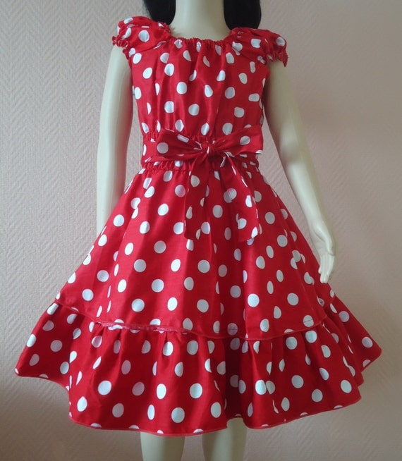 40s 50s Red  With White Polka Dots  RockaBilly swinG GIRLS DRESS Pin Up   Size 6 8 10