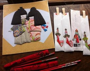 SALE Vintage Chopsticks Fabric Picture Lacquered Chopsticks 2 sets and 4 sets wooden Chopsticks Asian Chopsticks Home Decor Hair Ornament