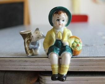 Vintage Ceramic Bisque Child Sitting & Dog Playing Trombone ~Japan~2pcs Nice