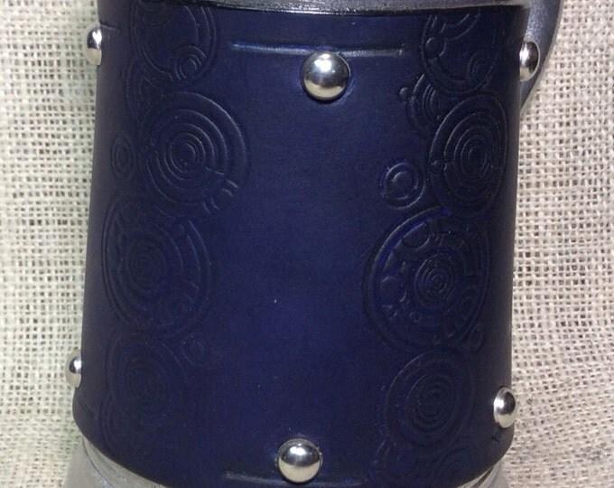 Leather Metal 36 oz tankard mug Doctor Who Tardis circular Galifreyan