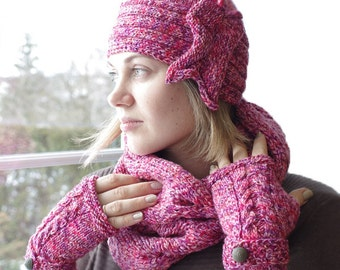 Pink mix cable knit cowl scarf, women scarf, cotton cowl scarf, hand knitted scarf - READY to ship