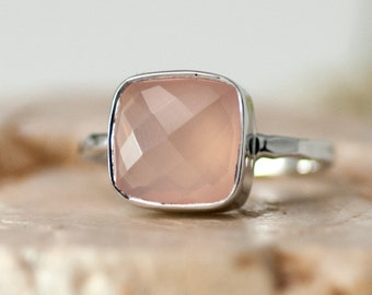Pink Chalcedony Ring Silver - October Birthstone Ring - Solitaire Ring - Stacking Ring - Sterling Silver Ring - Cushion Cut Ring
