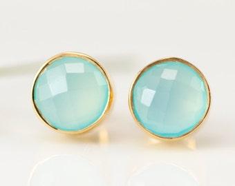 Aqua Blue Chalcedony Stud Earrings - Gemstone Studs - Round Studs - Gold Stud Earrings - Post Earrings