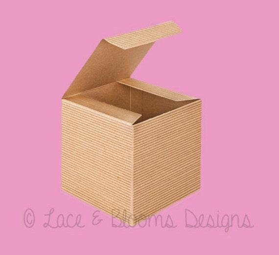 4 x 4 x 4 set of 10 favor / gift boxes - PINSTRIPE kraft natural color