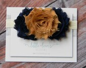 Baby Flower Headband- Baby Headband- Navy and Mocha Shabby Flowers on Soft Cream Elastic Headband