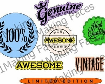 Awesome, 100%, Genuine, High Quality, Limited Edition, Guaranteed, Vintage Banner Words with Shadows, SVG Cutting File Kit