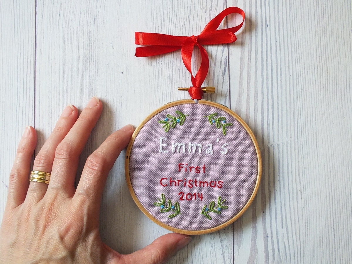 Baby's First Christmas Tree Ornament Embroidered Keepsake