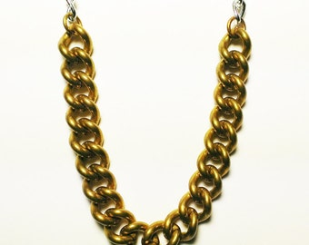 Long necklace with vintage brass chain