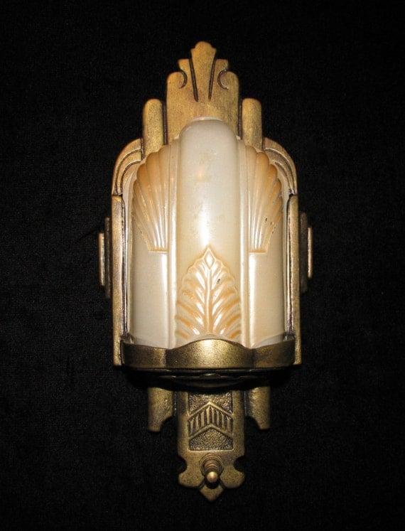 Art Deco Slip Shade Wall Sconces : Vintage Art Deco Slip Shade Wall Sconce