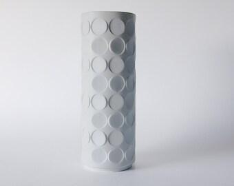Modernist Tall Op Art White German Op Art Vase   -  Winterling Schwarzenbach