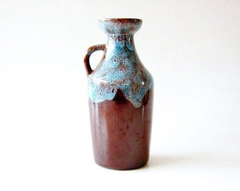Vintage West Germany Brown / Blue Lava Pitcher - Strehla 70s