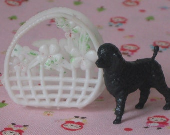 Vintage Barbie Plastic Basket Purse with Black Pet Poodle Dog