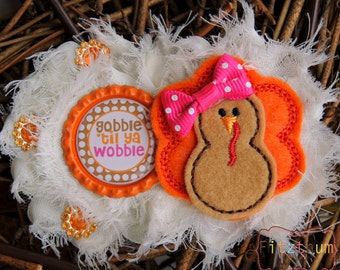 First Thanksgiving headband  -  Baby turkey headband - Fall headband - Fall baby girl gift - Bringing home headband