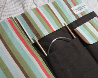 On Sale -Light Stripe Travel Knitting Needle Case - Holds needles and patterns