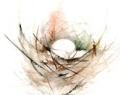 Birds Nest Painting Print from Original Watercolor Painting