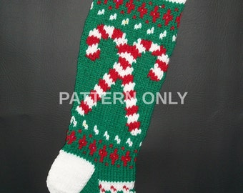 PRINTED Pattern Only Hand Knitted Original Design Candy Canes Christmas Stocking