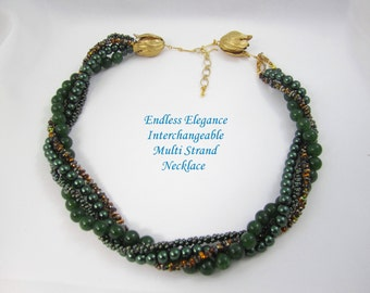 Shop CLOSING SALE, Magic Copper Farfalle  Interchangeable Multi Strand Necklace small multi brown and green,copper green crystal peanut bead