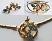 Jewelry Set  Vintage Cassini Necklace Earrings Bracelet Brooch Something Blue 1950 Bride Bridal Wedding