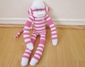 Cotton candy sock monkey plush - bright pink and white striped with pink heart