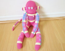 Pastel plaid Easter sock monkey - pink, purple, yellow, and blue sock monkey doll