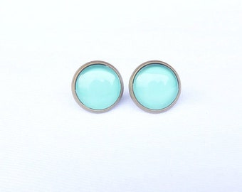 Turquoise Stud Earrings - Mint Earring Stud - Small Studs - Tiny Earring Studs