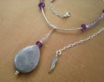 Enchanted dusk beaded necklace, purple ocean jasper, amethyst, feather charm, sterling silver, unique jewelry by Grey Girl Designs on Etsy