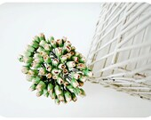 Mulberry Scrapbooking paper flower tiny Kraft Rose Buds for crafting, wedding decoration / pack