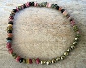 One Tourmaline and Pyrite Beads HEALING for WOMEN Stretch Bracelet