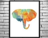 Geometric Bold and Colorful Elephant Wall Art, Digital Print, DIY T-shirt Transfer - Instant Digital Download PLUS Transparency