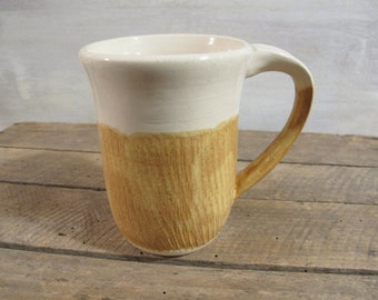 Ceramic Coffee Mug, Handmade Pottery Mug, 12 oz. Stoneware Mug in Honey Mustard Yellow and White