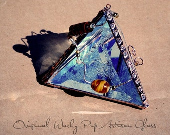 Beautiful Copper Pyramid Box with Amber Glass Beads