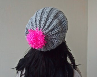 Crochet PATTERN chunky slouchy hat knit look  crochet pom pom hat women  beanie,  DIY tutorial instant dowload