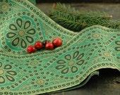 "Spruce & Gold: Festive Green Trim, Ribbon, Sari Border, India 5""x1 Yard / Festive Holiday Craft, Decorating, Decor, Sewing Supplies"